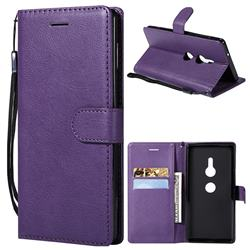 Retro Greek Classic Smooth PU Leather Wallet Phone Case for Sony Xperia XZ2 - Purple