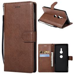 Retro Greek Classic Smooth PU Leather Wallet Phone Case for Sony Xperia XZ2 - Brown