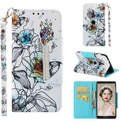 Fotus Flower Big Metal Buckle PU Leather Wallet Phone Case for Sony Xperia XZ2