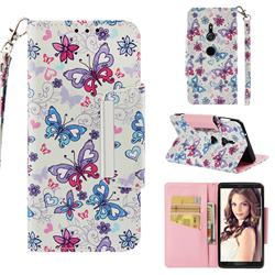 Colored Butterfly Big Metal Buckle PU Leather Wallet Phone Case for Sony Xperia XZ2
