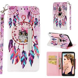 Owl Wind Chimes Big Metal Buckle PU Leather Wallet Phone Case for Sony Xperia XZ2