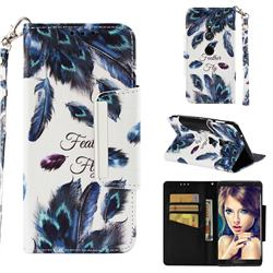 Peacock Feather Big Metal Buckle PU Leather Wallet Phone Case for Sony Xperia XZ2