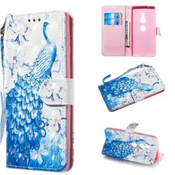 Blue Peacock 3D Painted Leather Wallet Phone Case for Sony Xperia XZ2