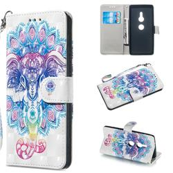 Colorful Elephant 3D Painted Leather Wallet Phone Case for Sony Xperia XZ2