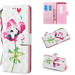 Flower Panda 3D Painted Leather Wallet Phone Case for Sony Xperia XZ2