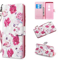 Flamingo 3D Painted Leather Wallet Phone Case for Sony Xperia XZ2