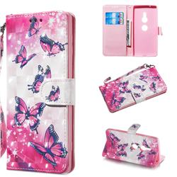 Pink Butterfly 3D Painted Leather Wallet Phone Case for Sony Xperia XZ2