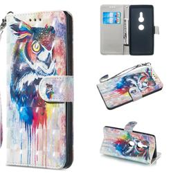 Watercolor Owl 3D Painted Leather Wallet Phone Case for Sony Xperia XZ2