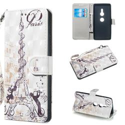 Tower Couple 3D Painted Leather Wallet Phone Case for Sony Xperia XZ2