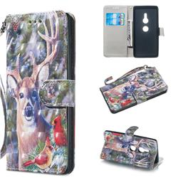 Elk Deer 3D Painted Leather Wallet Phone Case for Sony Xperia XZ2