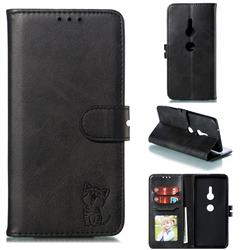 Embossing Happy Cat Leather Wallet Case for Sony Xperia XZ2 - Black