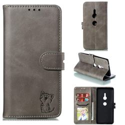 Embossing Happy Cat Leather Wallet Case for Sony Xperia XZ2 - Gray