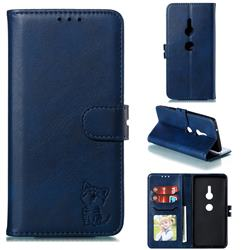 Embossing Happy Cat Leather Wallet Case for Sony Xperia XZ2 - Blue