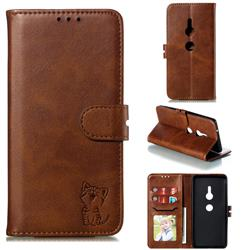 Embossing Happy Cat Leather Wallet Case for Sony Xperia XZ2 - Brown