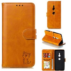 Embossing Happy Cat Leather Wallet Case for Sony Xperia XZ2 - Yellow