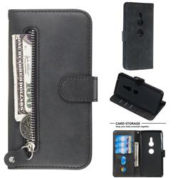 Retro Luxury Zipper Leather Phone Wallet Case for Sony Xperia XZ2 - Black