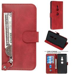 Retro Luxury Zipper Leather Phone Wallet Case for Sony Xperia XZ2 - Red