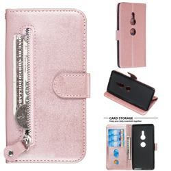 Retro Luxury Zipper Leather Phone Wallet Case for Sony Xperia XZ2 - Pink