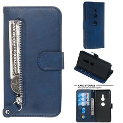 Retro Luxury Zipper Leather Phone Wallet Case for Sony Xperia XZ2 - Blue