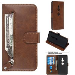 Retro Luxury Zipper Leather Phone Wallet Case for Sony Xperia XZ2 - Brown
