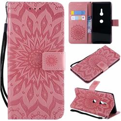 Embossing Sunflower Leather Wallet Case for Sony Xperia XZ2 - Pink