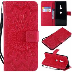Embossing Sunflower Leather Wallet Case for Sony Xperia XZ2 - Red