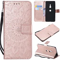 Embossing Sunflower Leather Wallet Case for Sony Xperia XZ2 - Rose Gold