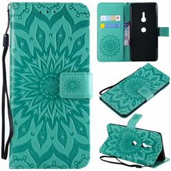 Embossing Sunflower Leather Wallet Case for Sony Xperia XZ2 - Green