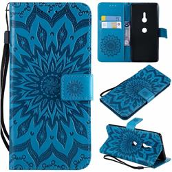 Embossing Sunflower Leather Wallet Case for Sony Xperia XZ2 - Blue