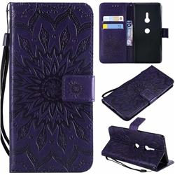 Embossing Sunflower Leather Wallet Case for Sony Xperia XZ2 - Purple