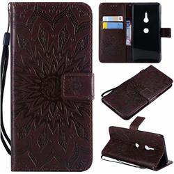 Embossing Sunflower Leather Wallet Case for Sony Xperia XZ2 - Brown