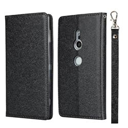 Ultra Slim Magnetic Automatic Suction Silk Lanyard Leather Flip Cover for Sony Xperia XZ2 - Black