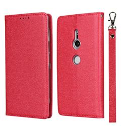 Ultra Slim Magnetic Automatic Suction Silk Lanyard Leather Flip Cover for Sony Xperia XZ2 - Red