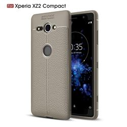 Luxury Auto Focus Litchi Texture Silicone TPU Back Cover for Sony Xperia XZ2 Compact - Gray