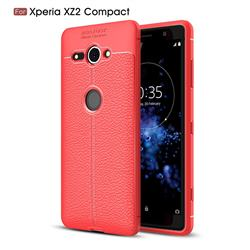 Luxury Auto Focus Litchi Texture Silicone TPU Back Cover for Sony Xperia XZ2 Compact - Red