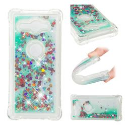 Dynamic Liquid Glitter Sand Quicksand TPU Case for Sony Xperia XZ2 Compact - Green Love Heart