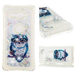 Sweet Gray Owl Dynamic Liquid Glitter Sand Quicksand Star TPU Case for Sony Xperia XZ2 Compact