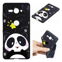 Cute Bear 3D Embossed Relief Black TPU Cell Phone Back Cover for Sony Xperia XZ2 Compact