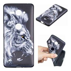 Lion 3D Embossed Relief Black TPU Cell Phone Back Cover for Sony Xperia XZ2 Compact
