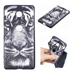White Tiger 3D Embossed Relief Black TPU Cell Phone Back Cover for Sony Xperia XZ2 Compact