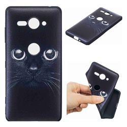Bearded Feline 3D Embossed Relief Black TPU Cell Phone Back Cover for Sony Xperia XZ2 Compact