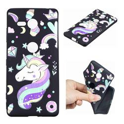 Candy Unicorn 3D Embossed Relief Black TPU Cell Phone Back Cover for Sony Xperia XZ2 Compact