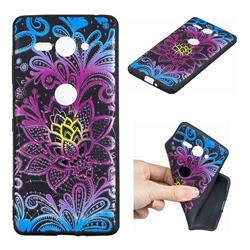 Colorful Lace 3D Embossed Relief Black TPU Cell Phone Back Cover for Sony Xperia XZ2 Compact