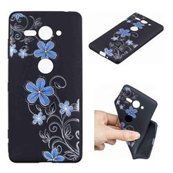 Little Blue Flowers 3D Embossed Relief Black TPU Cell Phone Back Cover for Sony Xperia XZ2 Compact