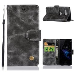 Luxury Retro Leather Wallet Case for Sony Xperia XZ2 Compact - Gray