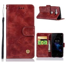 Luxury Retro Leather Wallet Case for Sony Xperia XZ2 Compact - Wine Red