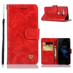 Luxury Retro Leather Wallet Case for Sony Xperia XZ2 Compact - Red