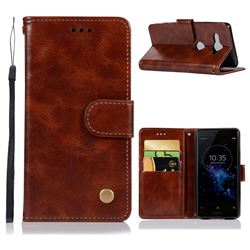 Luxury Retro Leather Wallet Case for Sony Xperia XZ2 Compact - Brown