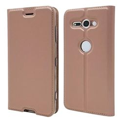 Ultra Slim Card Magnetic Automatic Suction Leather Wallet Case for Sony Xperia XZ2 Compact - Rose Gold