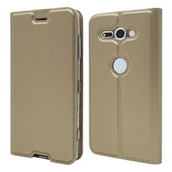 Ultra Slim Card Magnetic Automatic Suction Leather Wallet Case for Sony Xperia XZ2 Compact - Champagne